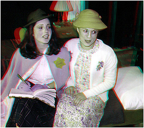 Sara Hegan as Anne Frank with Kimberly Muncaster as Margot Frank. 3-D Photography by Marc Dawson.