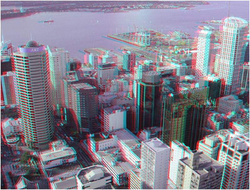 Auckland City towards Mount Eden. Digital 3-D Photography by Marc Dawson.