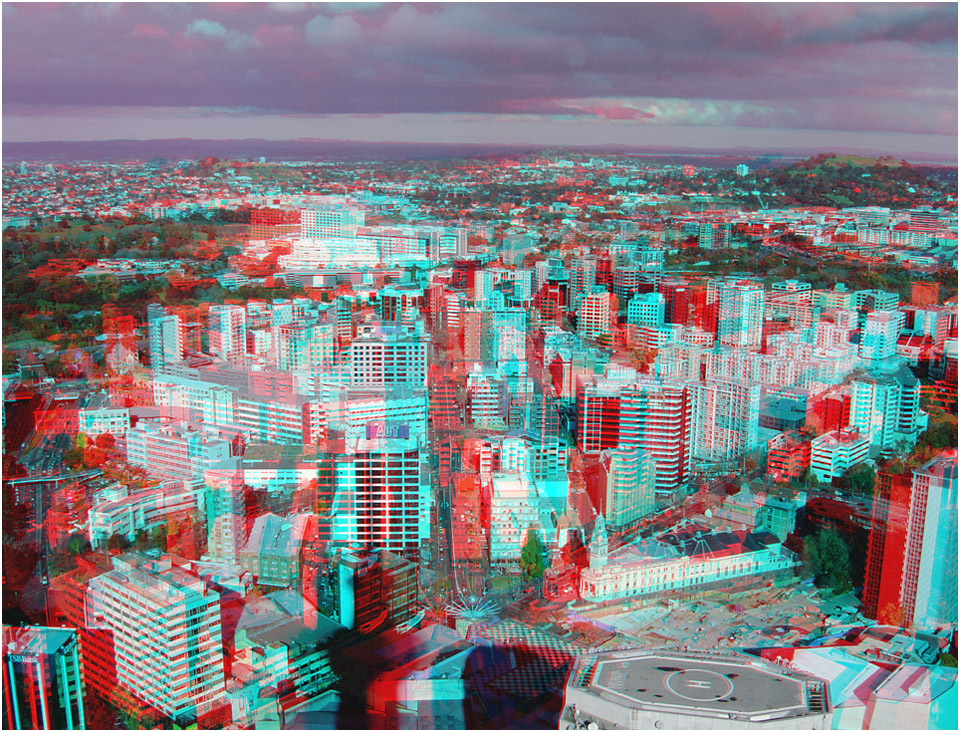 Auckland City towards One Tree Hill. Digital 3-D Photography by Marc Dawson.