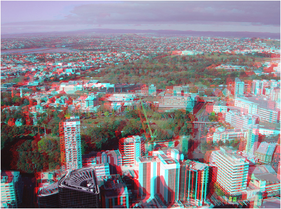 Auckland City and Domain. Digital 3-D Photography by Marc Dawson.