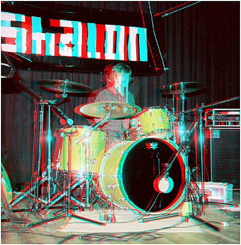 Peter Sheilds on Drums at St Pats Hall. 3-D Photography by Marc Dawson.