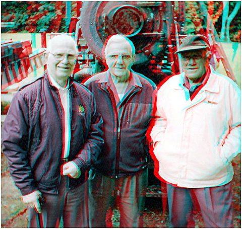 Former J'C's, Bob Vaile, Phil Ward and Joe Tolich who were involved in bringing the engine to the Memorial Park, were present to see it taken out 44 years later. 3-D Photography by Marc Dawson.