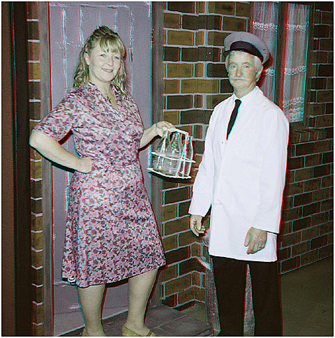 Mrs Johnston deals with the milkman. 3-D Photography by Marc Dawson