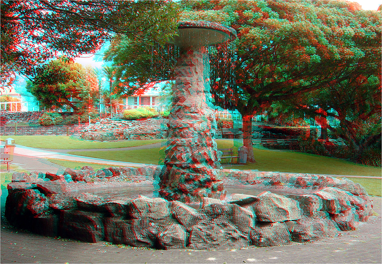 The Peace Fountain in Te Awamutu New Zealand. 3-D Photography by Marc Dawson
