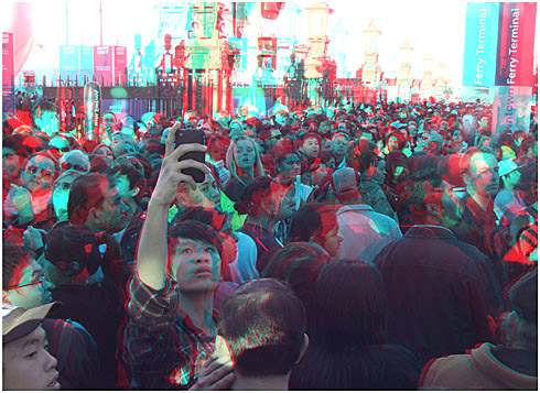 The stalled que along the cast iron fence on Quay Street. Digital 3-D Photography by Marc Dawson.