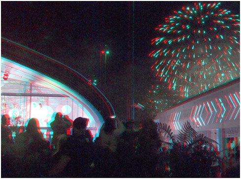 Rugby World Cup '11 Fireworks over the Long White Cloud Pavillion. Digital 3-D Photography by Marc Dawson.