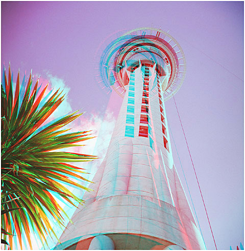 The Sky Tower. Auckland, New Zealand. 3-D Photography by Marc Dawson