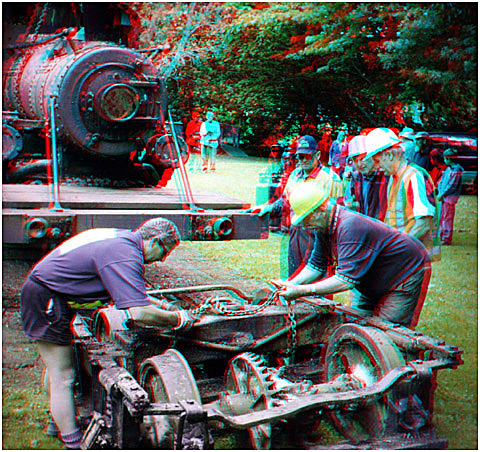 The front wheel assembly was pulled out after the engine was partially lifted. 3-D Photography by Marc' Dawson.