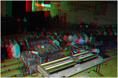 View of the sound desk in the Bleachers before the show. 3-D Photography by Marc Dawson.